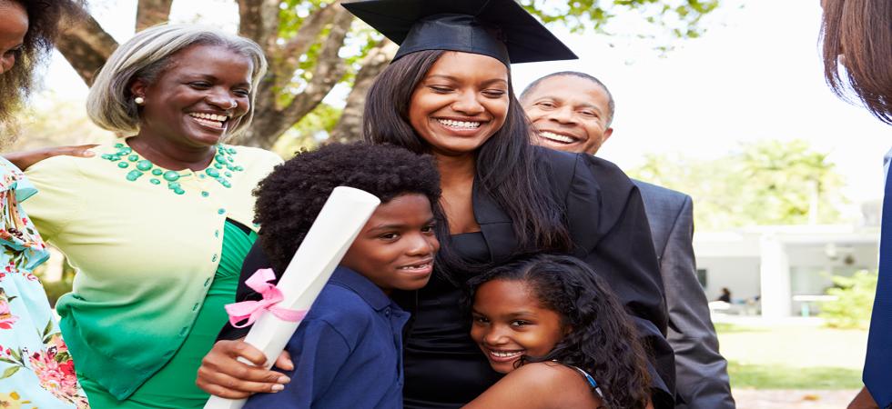 Graduate Hugging Kids